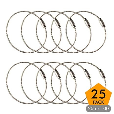 Stainless Steel Wire Keychains 1.5mm 6.3 Inches Aircraft Cable Key Ring Loops for Hanging Luggage Tags or ID Tags (25 Pack)