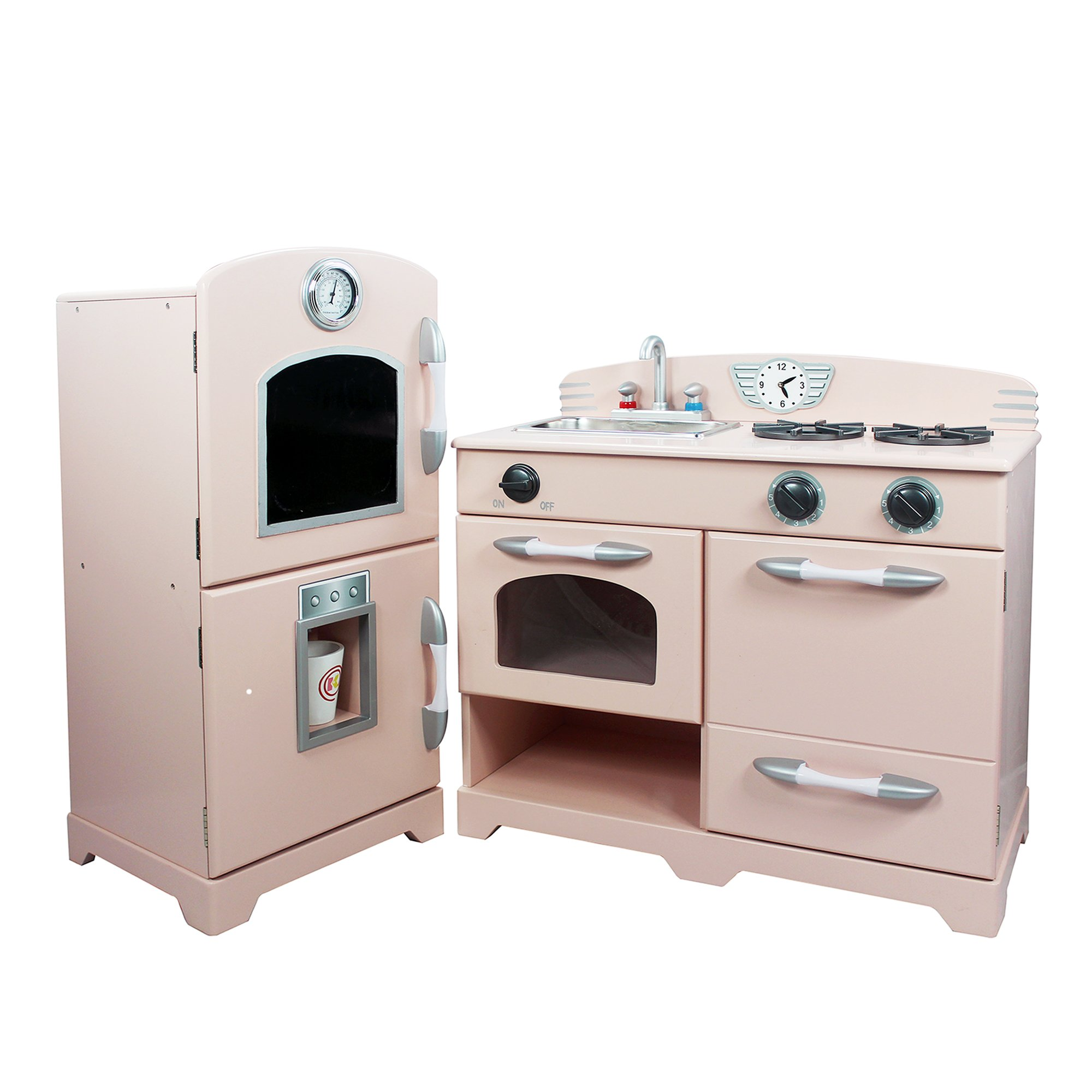Teamson Kids - Retro Wooden Play Kitchen with Refrigerator, Freezer, Oven and Dishwasher - Pink (2 Pieces) by Teamson Kids (Image #4)
