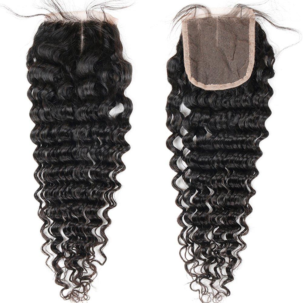 Brazilian 8A Deep Wave 3 Bundles with Closure Virgin Human Hair Bundles with 4x4 Middle Part Closure Unprocessed Virgin Human Hair Natural Black(20 22 24+18) by Miss GAGA (Image #7)