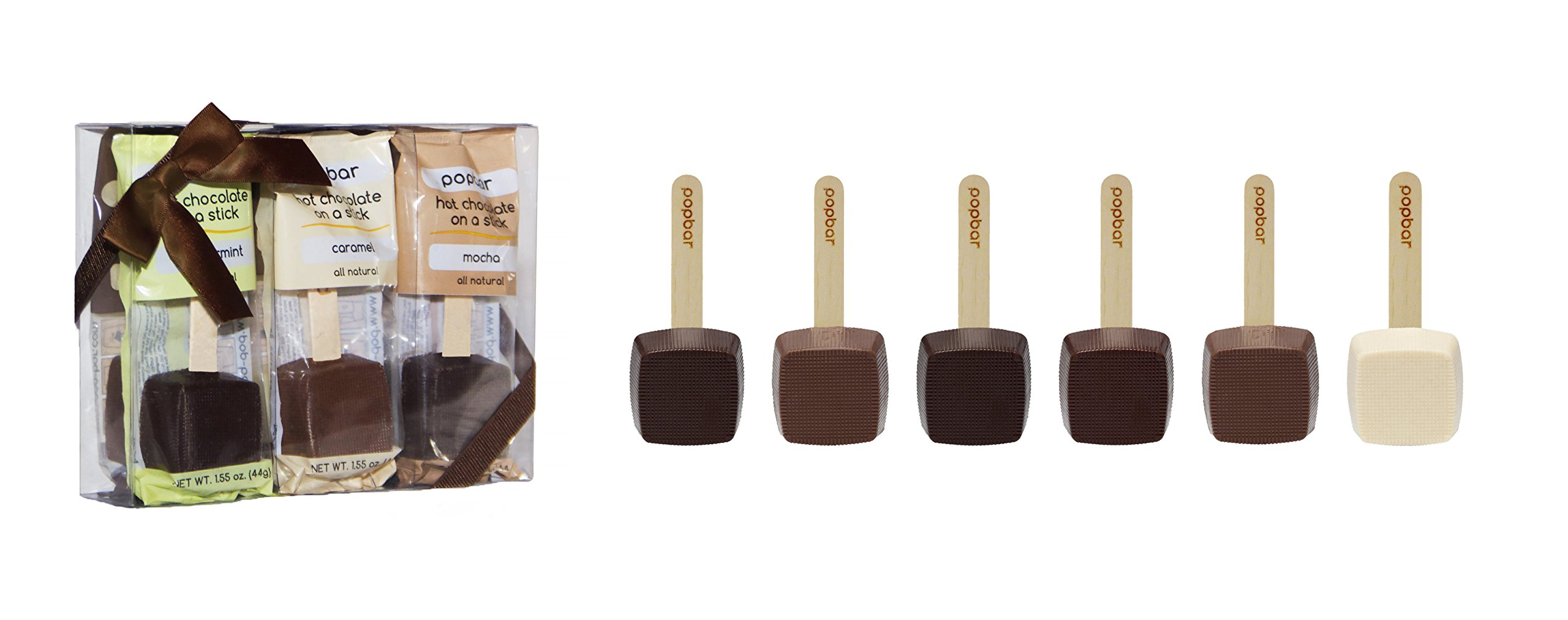 Hot Chocolate on a Stick - 6 Pack Holiday Gift Box - Dark, Milk, Vanilla White, Caramel, Mocha and Peppermint by Popbar
