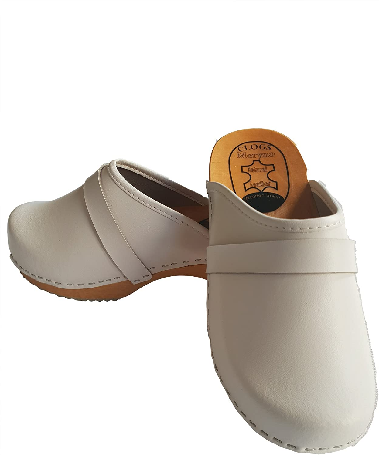 Women Hand Made Clog Wooden-Sole Genuine Leather P1