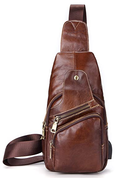 Leather Sling Bag For Men Crossbody Chest Bag Headphones Backpack Outdoor Travel Pack