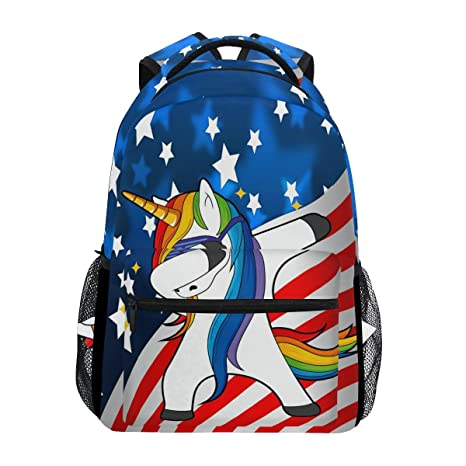 f8d358017c28 Image Unavailable. Image not available for. Color  WXLIFE USA American Flag  Unicorn Backpack Travel School Shoulder Bag For Kids Boys Girls Women Men