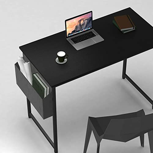 Cubiker Computer Desk 32 Home Office Writing Study Desk, Modern Simple Style Laptop Table with Storage Bag, Black