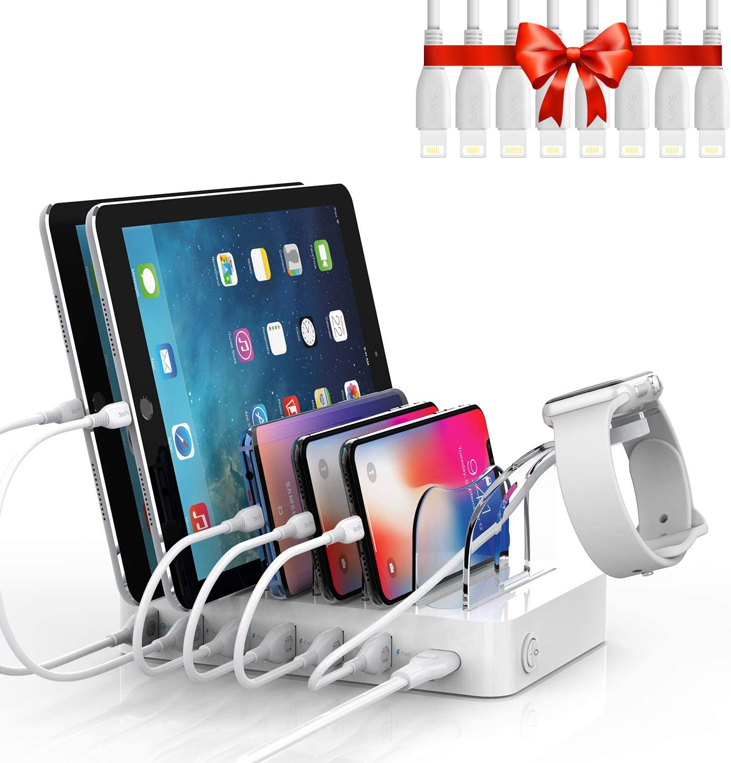 Amazon.com: Soopii Quick Charge 3.0 60W/12A 6-Port Charging Station for  Multiple Devices, 8pcs USB Charging Cables and 1pc Plastic Holder for i  Watch Charger Included,for Phones, Tablets,and Other Electronics: Home  Audio &
