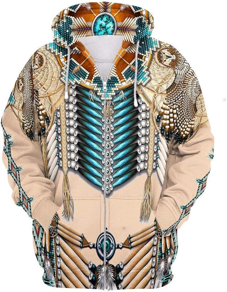Sudadera con Cremallera con Estampado Digital 3D Indio Americano Nativo Pareja Sudaderas con Capucha Personalidad Sudaderas Ropa Cospaly