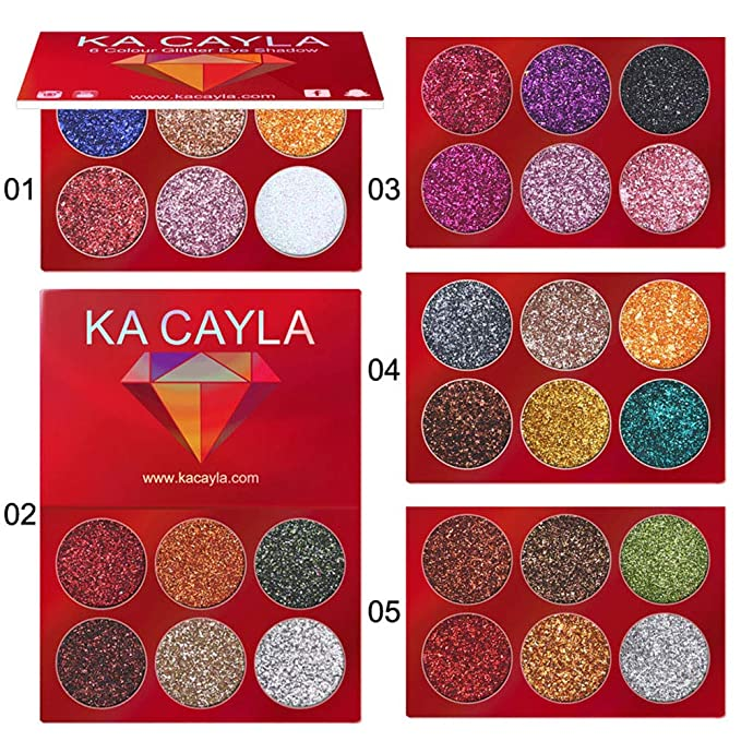 HK (5Pcs) Paleta de Maquillaje Beauty con Purpurina, Brillos metálicos, para Sombra Ojos, cosmética Mineral,Makeup Eyeshadow Palette Beyond Flawless 30,165g