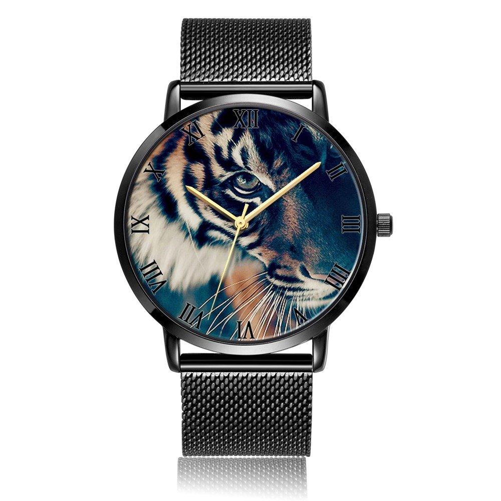 Amazon.com: Whiterbunny Customized Under the Sea Wrist Watch Unisex Analog Quartz Fashion Black Steel Strip/Black Dial Plate for Women and Men: Watches