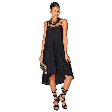venta minorista c8dde a648d VENCA Vestido de Fiesta Lencero en satén con Encaje Mujer by Vencastyle -  024408