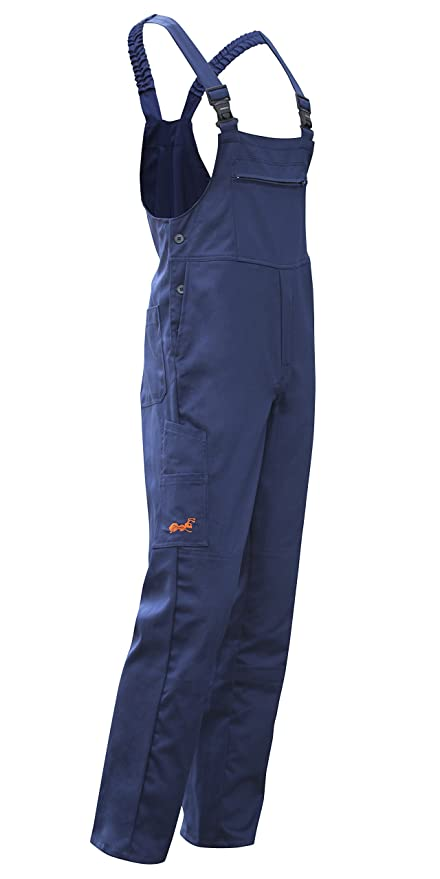 Salopette da Lavoro Hamburg con Elastico in Vita Boilersuit Made in Europe strongAnt® Blu Scuro Pantaloni rinforzati al Ginocchio