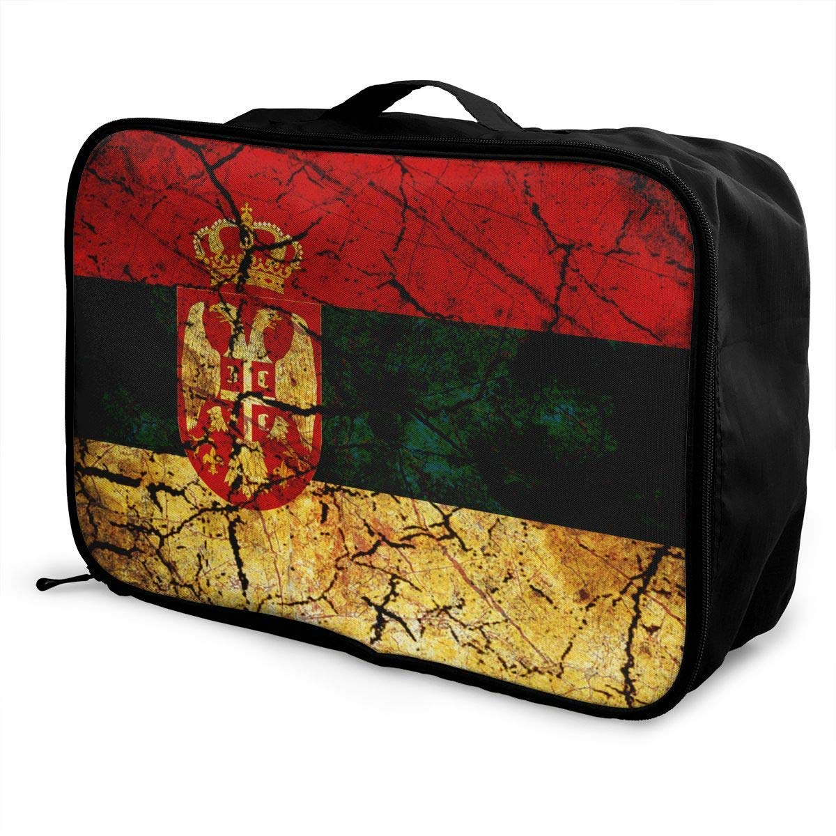 JTRVW Luggage Bags for Travel Portable Luggage Duffel Bag Serbia Flag Travel Bags Carry-on in Trolley Handle