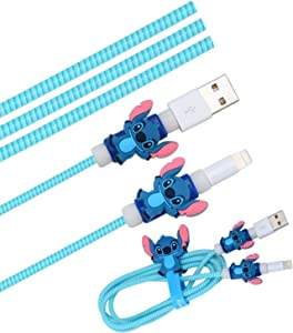Cute Blue Stitch Cartoon Animal Kawaii Spring Cable Protector Cover Saver Sleeves/Cord Management+Charging Data USB Cable+Cable Ties Reusable Fastening/Cable Straps Organizer for Apple iPhone iPad