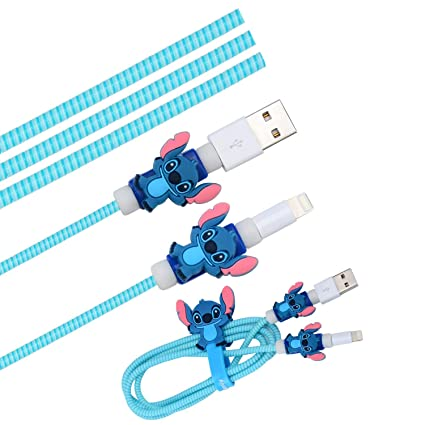 Cute Blue Stitch Cartoon Animal Kawaii Spring Cable Protector Cover Saver Sleeves/Cord Management+Charging Data USB Cable+Cable Ties Reusable ...