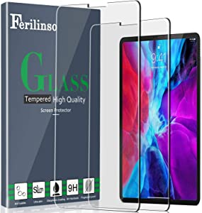Ferilinso Screen Protector for iPad Pro 12.9 2020,iPad Pro 12.9 4th Generation, 2 Pack Tempered Glass Film for iPad Pro 12.9 2020,iPad Pro 12.9 4th Generation-Clear