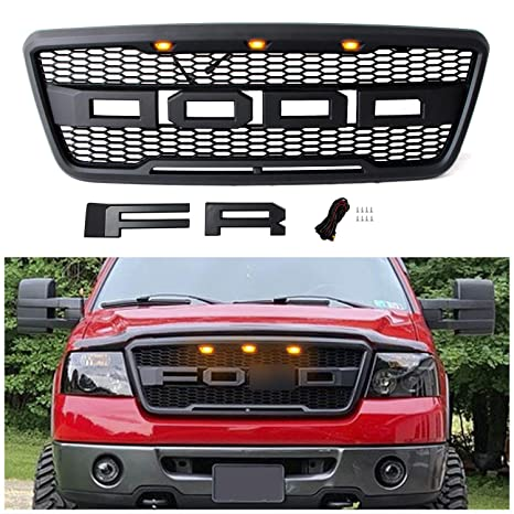 Seven Sparta Raptor Style Grill for F150 2004 2005 2006 2007 2008, Front Grille for Ford with F& R Letters and Three Bright Amber LED Lights, Matte ...