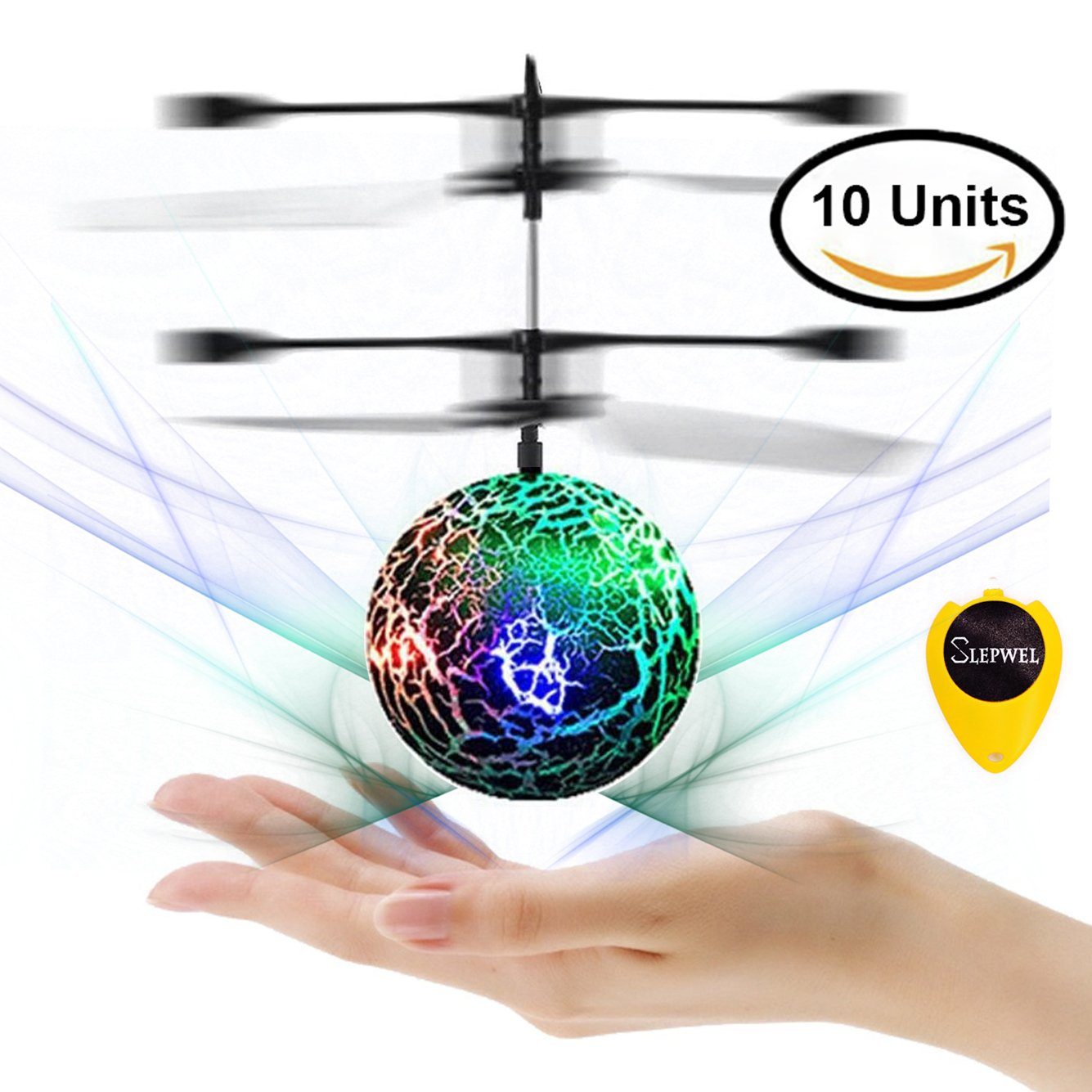 RC Flying Ball Helicopter, Slepwel Infrared Induction Flying Toys Built-in Rainbow Shinning LED Lighting for Boys and Girls, Teenagers Colorful Flyings for Kids Toy -10 Units (Green)