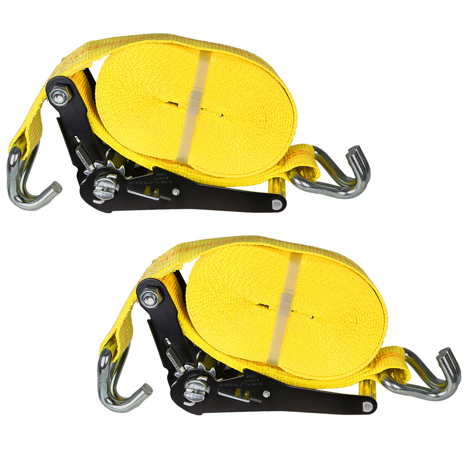 Lawn Equipment and Motorcycles Weize 2-Pack 27 x 2 Anti-Shock 10000Lbs Break Strength Cargo Strap Heavy Duty Ratchet Tie-Down System for Trailers Moving Appliances