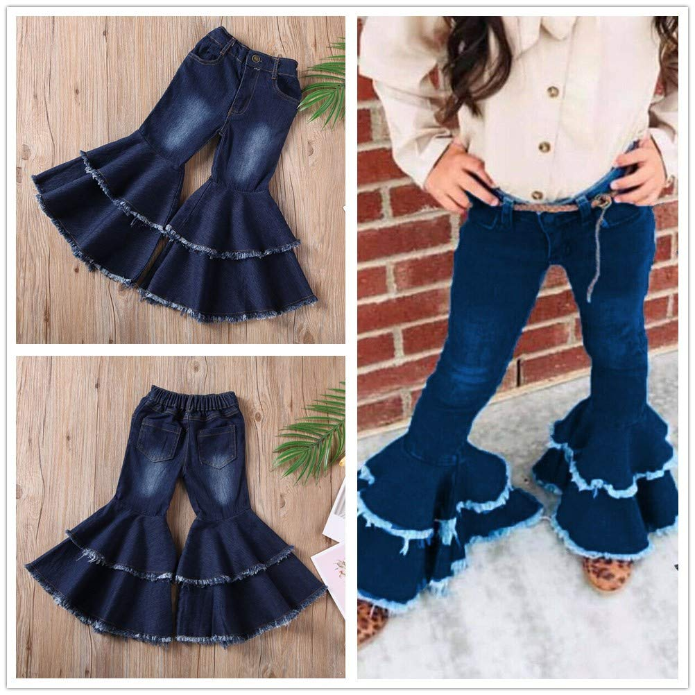 LXXIASHI Fashion Toddler Kids Baby Girl Leopard Stitched Long Flare Pants Wide-Legged Trousers Denim Jeans Outfits
