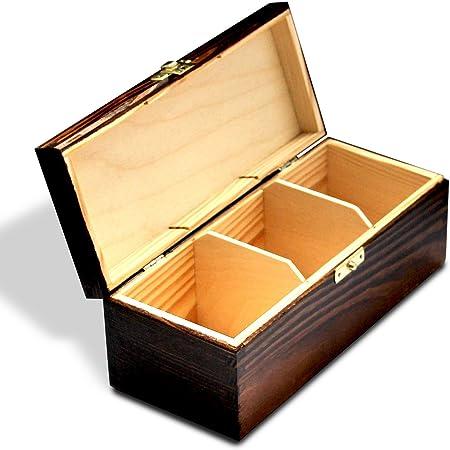 AJW Bpw Caja de té de Madera con 3 Compartimentos, para té o Cocina, Compatible con Bolsa de té Twinings – H3: Amazon.es: Hogar