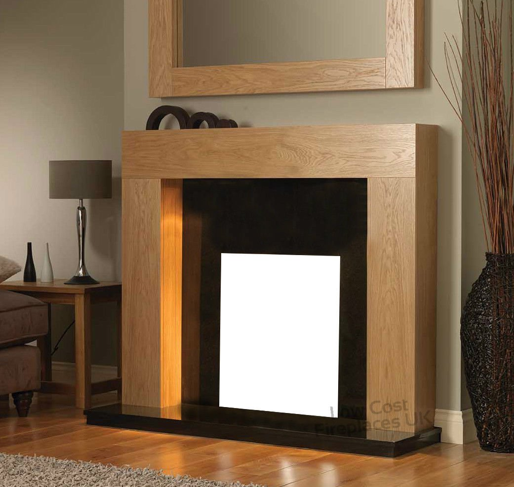 gas or electric fire oak surround black granite marble modern wall