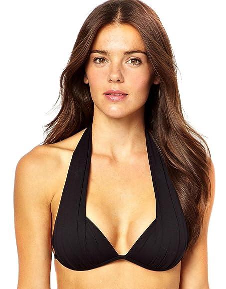 777945e70b Amazon.com  Seafolly Goddess Draped Moulded Tri Push Up Bikini Top Black  Large US 10 (AU 14)  Clothing