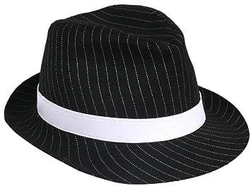 BLACK PINSTRIPE GANGSTER HAT BUGSY MALONE TRILBY FANCY DRESS ADULT ... 78b9eef5ae2
