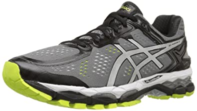 ASICS Men's Gel Kayano 22 Running Shoe, Charcoal/Silver/Lime, 7.5 M US