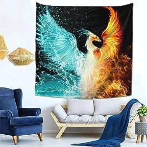 NiYoung Hippie Hippy Large Wall Hanging Throw Tapestries, Bohemian Mandala Wall Tapestry - Cool Fire Flame Phoenix Bird Black Retro Art Tapestries Mattress (59x59 inch)