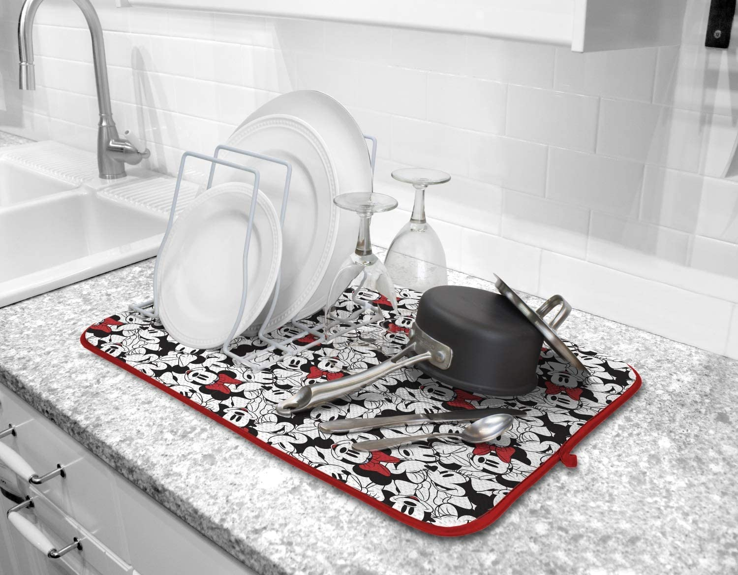 Disney Kitchen Dish Drying Mat - Ultra Absorbent Reversible Microfiber Drying Mat - Soft Surface for Air Drying Dinnerware, Delicate Crystal and Stemware, Pots, Pans, 16 x 18 inches, Minnie Face