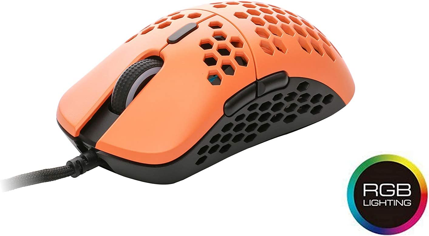 HK Gaming Mira S Ultra Lightweight Honeycomb Shell Wired Gaming Mouse - 6 Buttons - 2.1 oz (61 g) (12 000 cpi, Black & Orange)