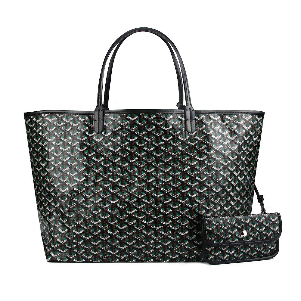 Stylesty Designer Shopping PU Tote Bag Set, Fashion Women Shoulder Handbags with Key Ring (Medium, Green1)