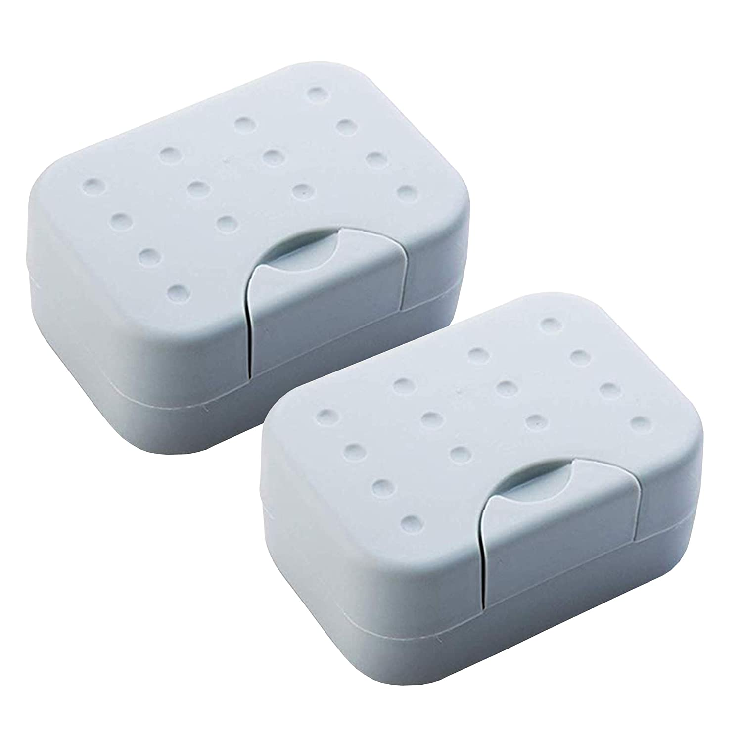 2 Sets Soap Case Holder Container Box dishes Home Outdoor Hiking Camping Travel-White IZTOSS