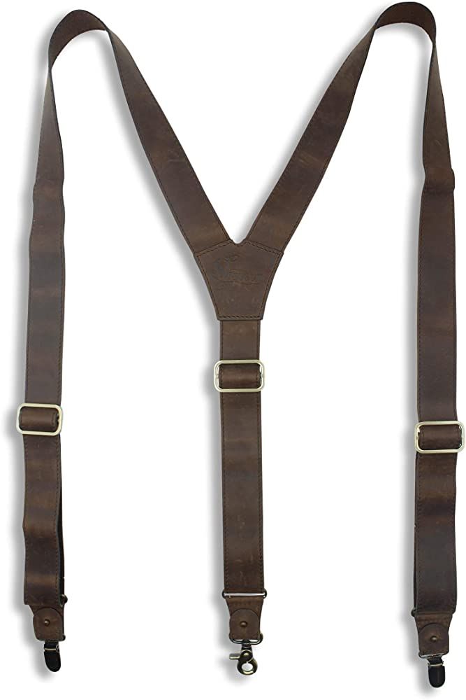 Wiseguy Billy - Tirantes de piel hechos a mano para pantalones de hombre y mujer, 3, 3 cm, con cierre de gatillo: Amazon.es: Ropa y accesorios