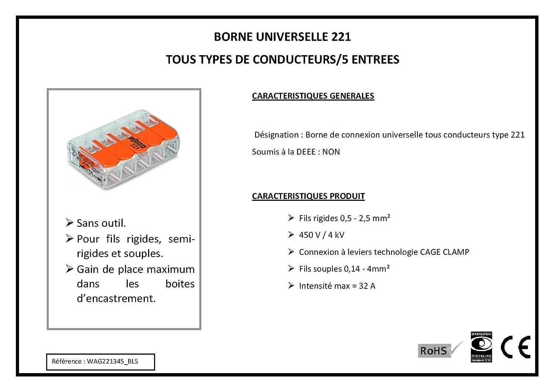 WAGO-COMPACT 221-615 Borne de connexion 5 conducteurs avec levier de commande jusqu/à 6 mm2