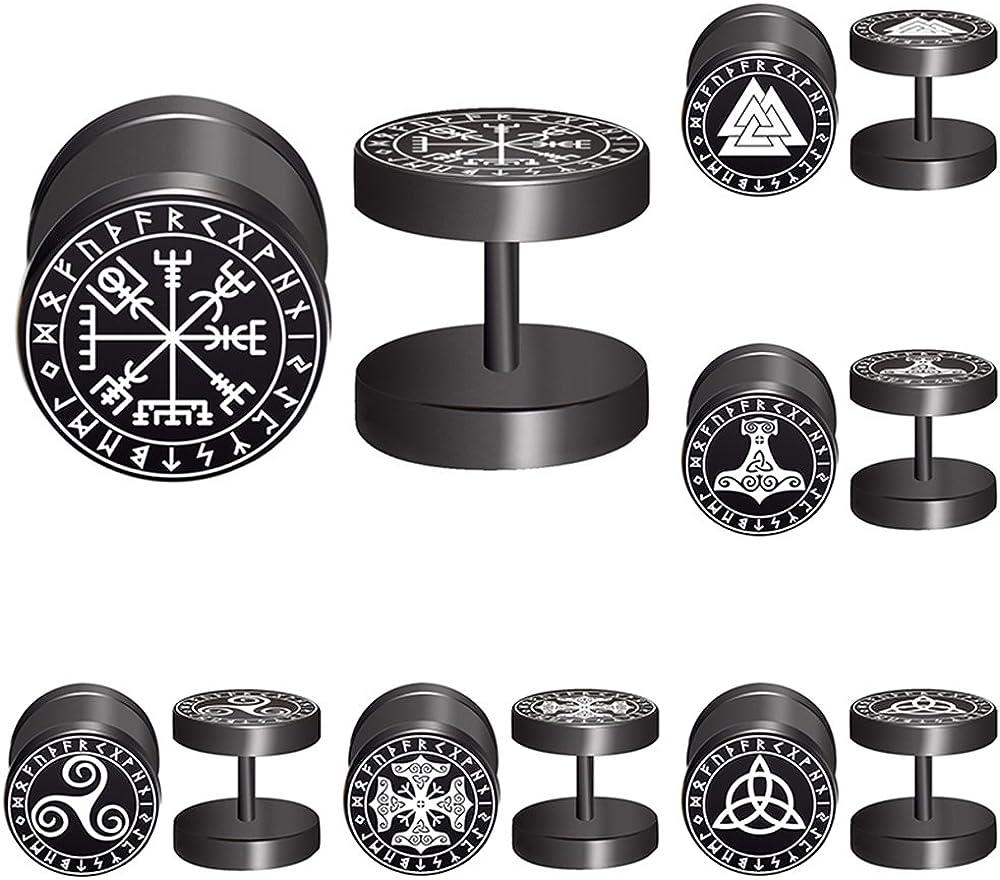 Viking Runes Black Stud Earrings Men Women Faux Gauges Fake Ear Tunnel Stainless Steel Earrings 6 Pairs (Black)