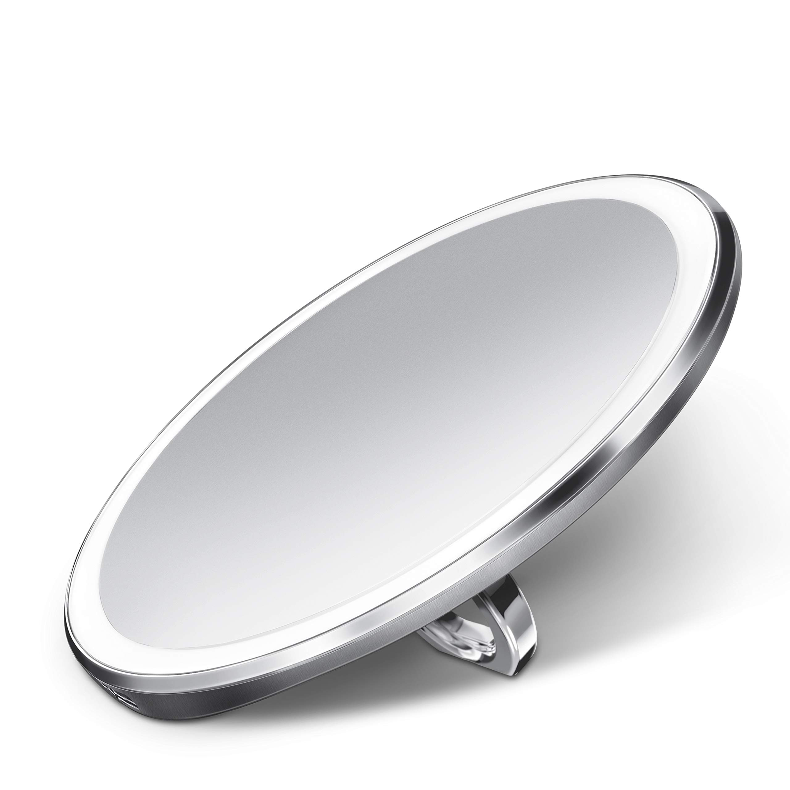 simplehuman Sensor Mirror Compact 4'' Round, 3X Magnification, Brushed Stainless Steel