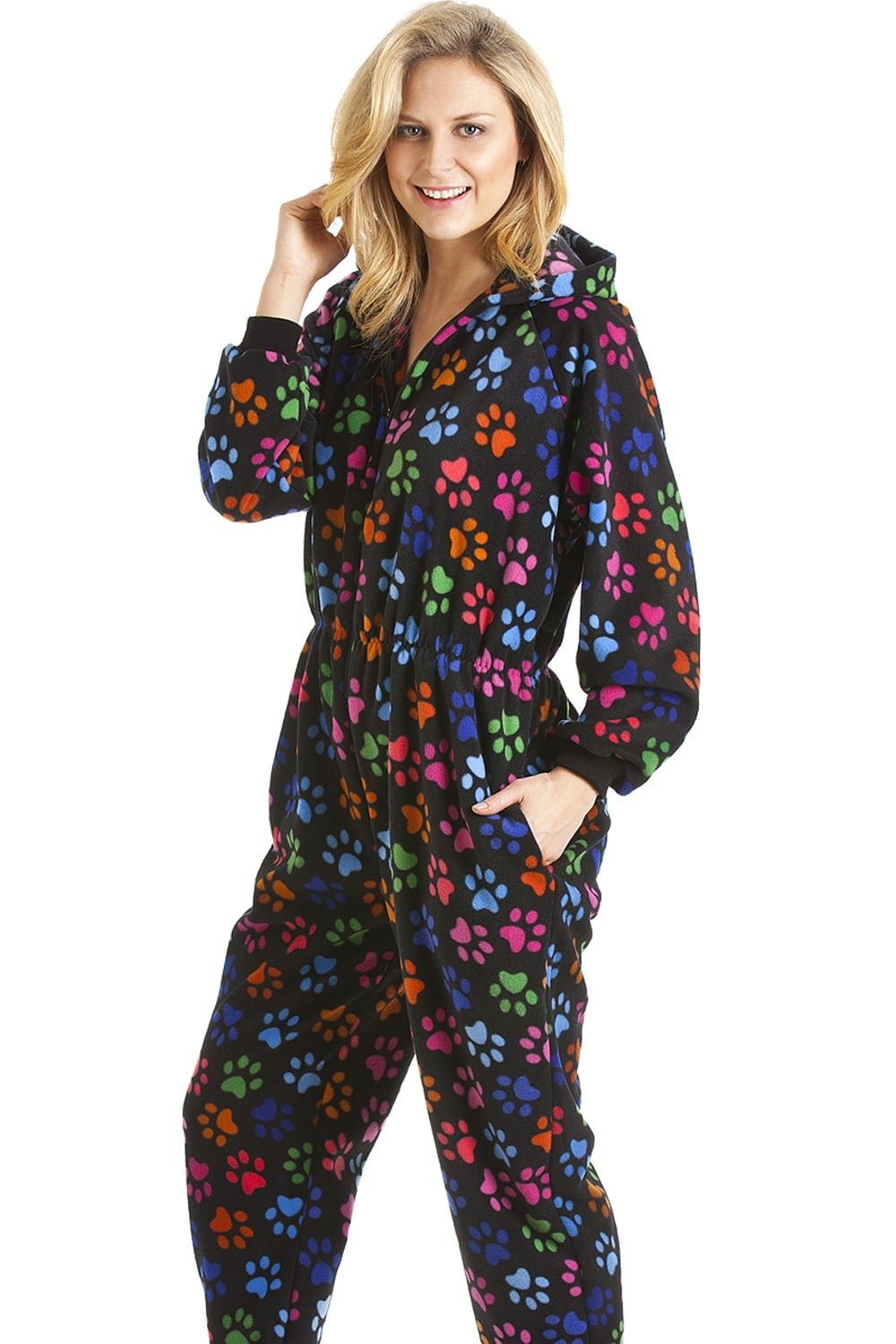 Camille Womens Various Multi-Coloured Paw Print Onesie