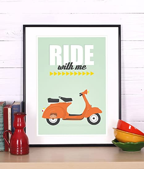 Amazon.com: Cartel retro, Vespa, Ride, Scooter, mid-century ...