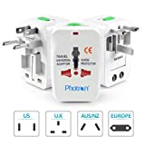 Photron TRAD75 Universal Worldwide Travel Charger Adapter Plug With Built-in Surge Protector All in One Travel Power Outlet Adapter Wall Changer Adaptor Works in 150 Countries EU UK US AU with Pouch, White