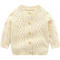 famuka Baby Boy Cardigan Sweaters Crew Neck Knit Coat