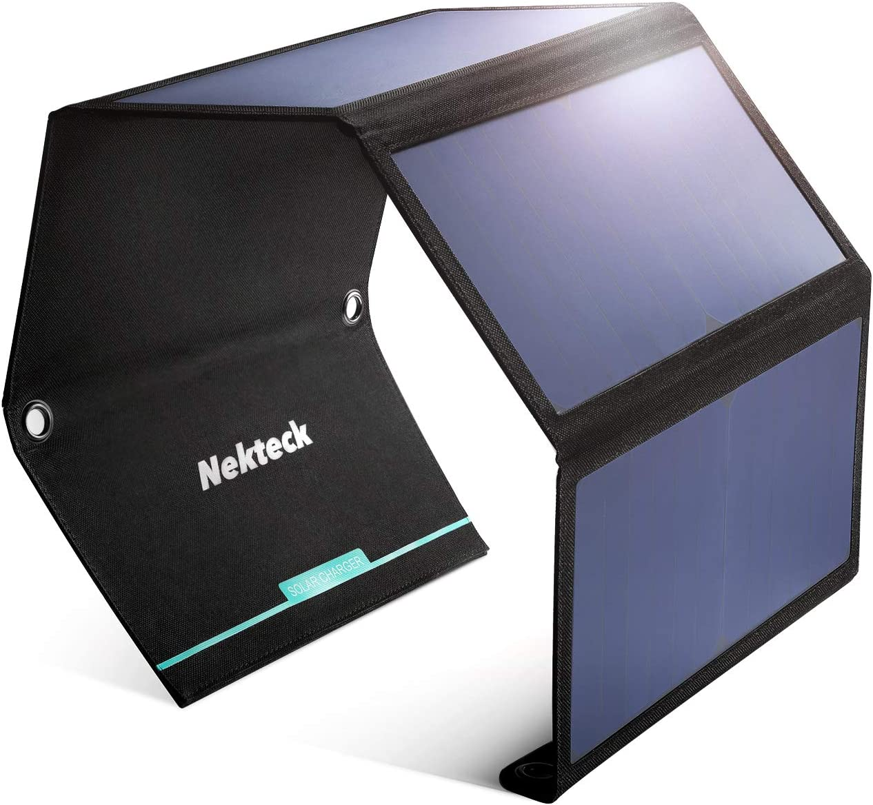 Nekteck 28W Portable Solar Panel Charger, Waterproof Camping Gear Solar Powered Charger with 2 USB Port for iPhone 12/11/Xs/X, iPad Pro/Air/Mini, Samsung Galaxy S9/S8, Tablet and Any USB Devices