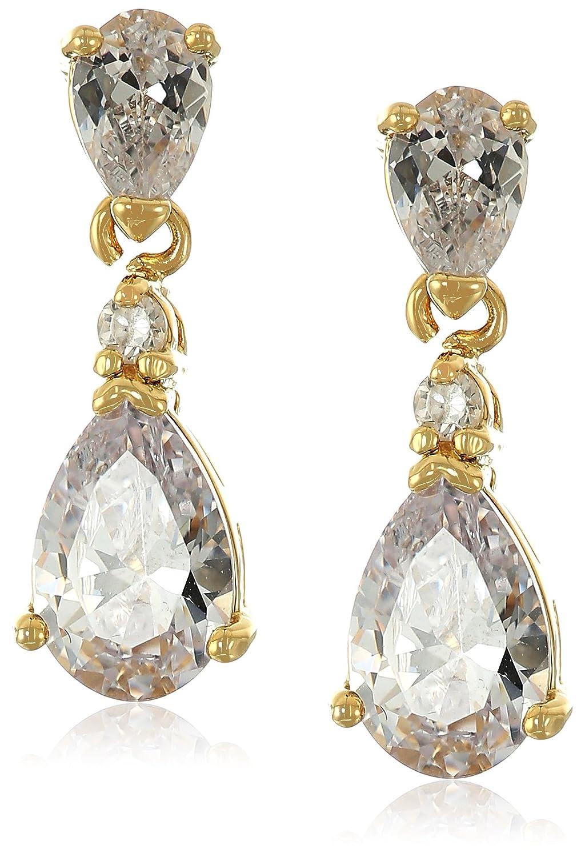 40c373ab2 Amazon.com: 1928 Jewelry 14k Gold-Dipped Cubic Zirconia Petite Teardrop  Earrings: Jewelry