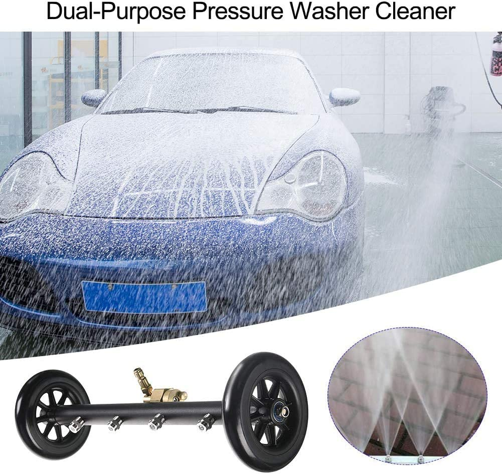 GDHXW Multipurpose Undercarriage Cleaner Surface Cleaner for Pressure Washer 4000 PSI 16 Inch Underbody Car Wash Water Broom with 3 Pieces Extension Wand