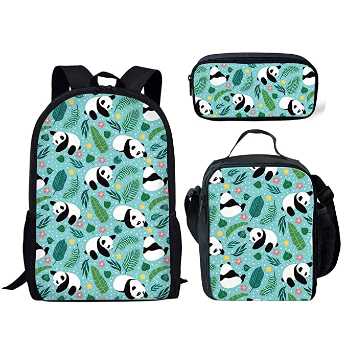 4f29e4c7db17 Salabomia Middle School Backpack Set 3 Pcs Thermal Green Lunch Bags  Children Pencil Bag Cute Panda Pattern
