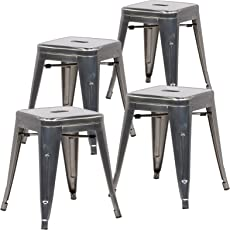 """Poly and Bark Trattoria 18"""" Stool in Polished Gunmetal (Set of 4)"""