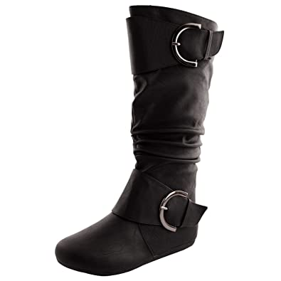58038fc66ba Top Moda Bank 85 Womens Buckle Slouch Boots Black