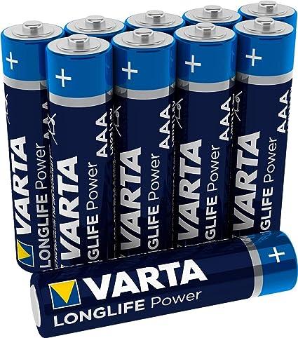 Pila Varta Longlife Power AAA Micro LR03 (paquete de 10 unidades), pila alcalina: Amazon.es: Electrónica