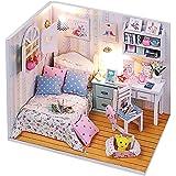 REALACC Hoomeda DIY Wood Dollhouse Miniature With LED Mobilia Cover Mini Doll House Room Ragazze Regalo