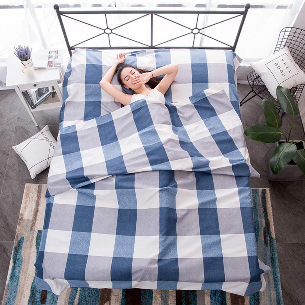 YEARGER Travel Sleeping Bag Liner Cotton Healthy Comfortable Hotel AntiDirty Sleeping Bag Bed Sheet (#01,200X215CM) by YEARGER