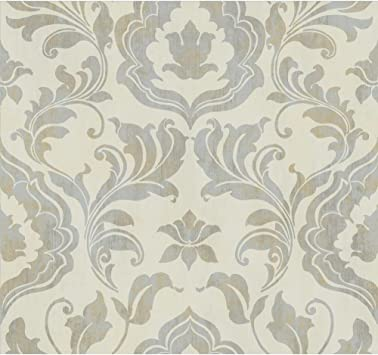 York Wallcoverings Gf0700 Gold Leaf Contempo Damask Wallpaper